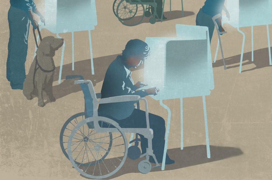 Žmogus su negalia prie pritaikyto balsavimo stalo