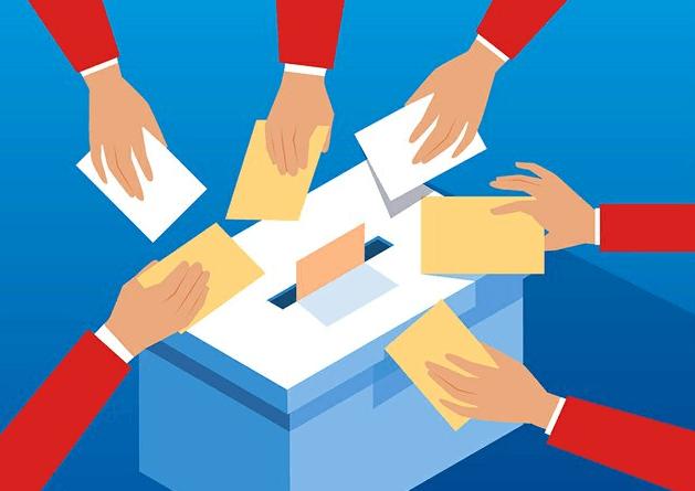 Pieštas paveiksliukas, kuriame pavaizduotė basadėžė ir rankos su balsavimo lapeliais.