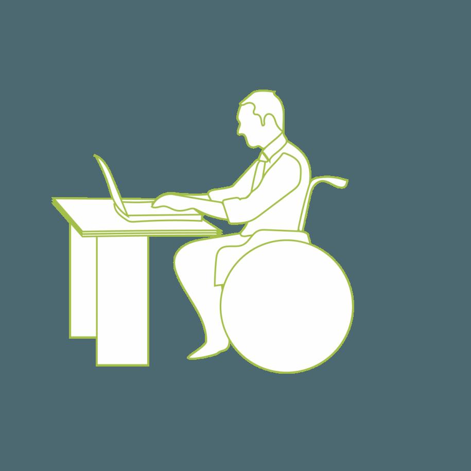 Rateliais judantis žmogus prie darbo stalo
