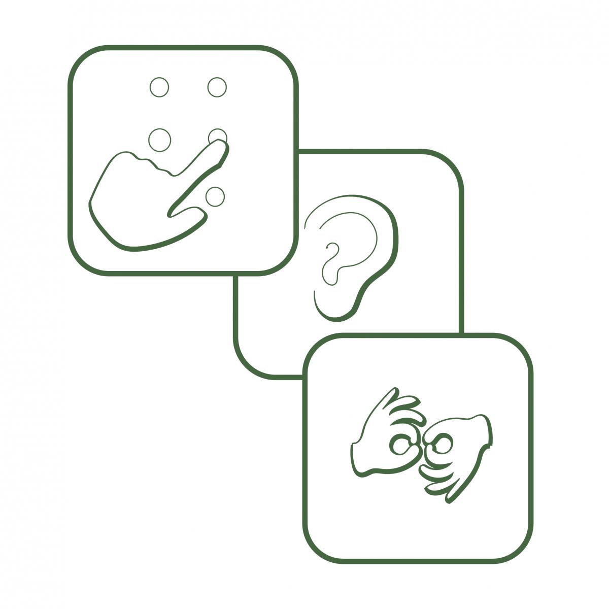 Įvairių negalių simboliai